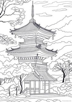 beautiful architecture Japanese Temple - Printable Adult Coloring Page from Favoreads (Coloring book pages for adults and kids, Coloring sheets, Coloring designs) Japanese Drawings, Japanese Tattoo Art, Japanese Art, Japanese Temple Tattoo, Printable Adult Coloring Pages, Coloring Book Pages, Arte Dark Souls, Coloring Sheets For Kids, Kids Coloring