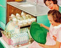 Blind girl feeling clean dishes from the dish washer, c. 1957.