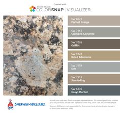 I found these colors with ColorSnap® Visualizer for iPhone by Sherwin-Williams: Perfect Greige (SW 6073), Stamped Concrete (SW 7655), Griffin (SW 7026), Dried Edamame (SW 9122), Gris (SW 7659), Sanderling (SW 7513), Grays Harbor (SW 6236).
