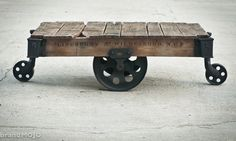 Vintage Industrial Factory Cart Coffee Table by brandmojointeriors, $750.00