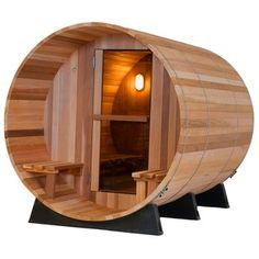 Almost Heaven Saunas Canopy Barrel Four Person Sauna