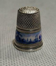 Fine Antique Enamel Delft Sterling Silver 935 Thimble   eBay