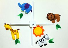 Felt Baby Crib Mobile Pattern. Jungle Safari Animals Mobile. DIY Sewing Pattern PDF. Includes elephant, lion, giraffe, zebra. on Etsy, $13.75