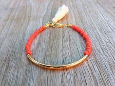 Gold tube bracelet Beaded Bracelet beaded bangle by Haneelove, $9.00