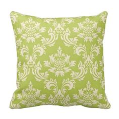 Fancy Olive Green Damask Pillow #damaskthrowpillows