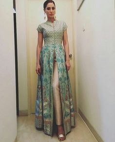 Nargis Fakhri looks elegant in a sage green banaras hand woven jacket, silk gold trousers and earrings. India Fashion, Ethnic Fashion, Asian Fashion, Fashion 2016, Pakistani Dresses, Indian Dresses, Indian Outfits, Western Dresses, Indian Attire