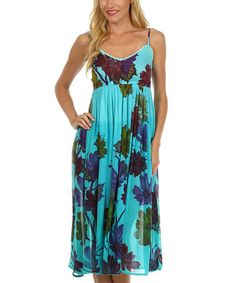 Another great find on #zulily! Turquoise Floral Empire-Waist Dress - Women by S Apparel #zulilyfinds