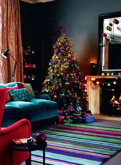 Rug, sofa and tree