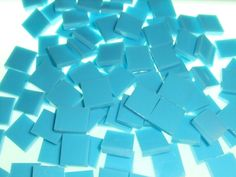 Turquoise blue opal mosaic tiles - hand cut from stained glass!