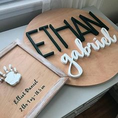 24 Round Custom Personalized Wood Name Sign Nursery Wood Name Sign, Wood Names, Name Signs, Painted Wood Signs, Wooden Signs, Hand Painted, Laser Cutter Projects, Wood Signs Sayings, Nursery Signs