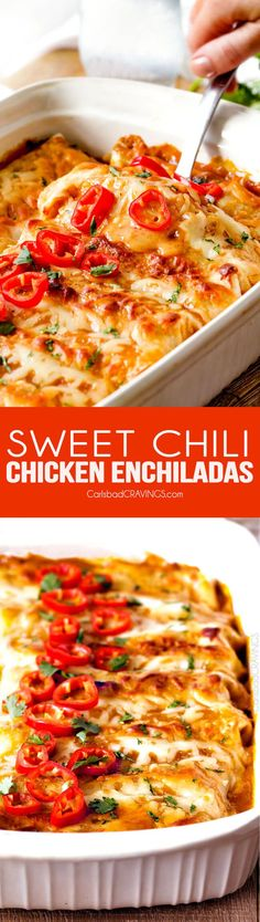 These Sweet chili Chicken Enchiladas are AMAZING! My whole family loves them and I always make them for company. The sauce is out of this world! via @carlsbadcraving