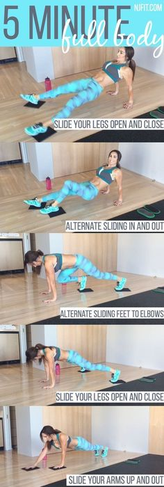 5 minute full body workout! ARE YOU IN? For this workout you will want to use sliders OR you can use a towel on a hard surface OR plates on carpet. Here is the plan From a reverse bridge hold slide your legs open and close From that same position alter