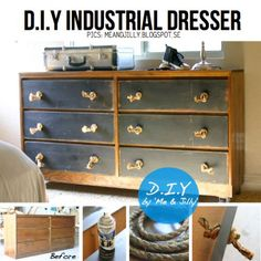 DIY industrial dresser: I like the two tone with black drawers just not the rope handles.. maybe but most likely change to card catalog pulls