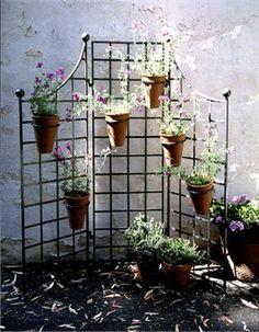 60in W X 60in H Iron Garden Screen With 6 8in Flower Pot Holders Iron Trellis Wrought Iron Trellis Flower Pot Holder