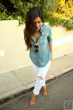 15. #Distressed Jeans - The #Ultimate Guide to #Styling the Chambray #Shirt ... → #Fashion #Denim