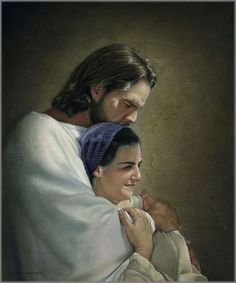 Jesus hugging mother mary - This picture expresses the beauty of mother-son love. Jesus as a man loves his mother so much. Arte Lds, Liz Lemon Swindle, Pictures Of Jesus Christ, Jesus Pics, Religious Pictures, Lds Art, Jesus Christus, Blessed Mother, Mother Mary