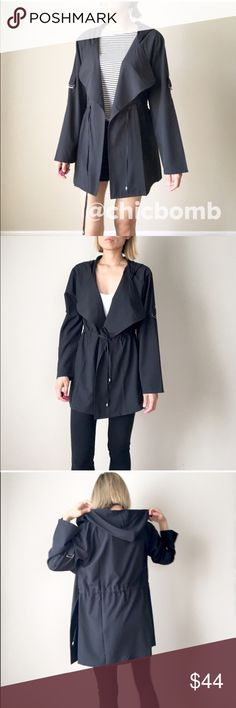 """Kate black lightweight jacket Top quality and style . Lightweight hooded anorak jacket with tie string on the waist for shaping. Adjustable sleeves with pockets. 97% polyester, 3%spandex. Measurement : size S- length :31"""", bust:38"""" w:34"""". Size M: 31""""/39""""/35. Size L:32""""/40""""/36"""". FALL IN LOVE Layering this Fall;)❤️❤️❤❤️️👉🏼Follow me on  📸INSTAGRAM: @chic_bomb  and 💁🏻📘FACEBOOK: @thechicbomb❤️❤️❤️❤️ CHICBOMB Jackets & Coats"""