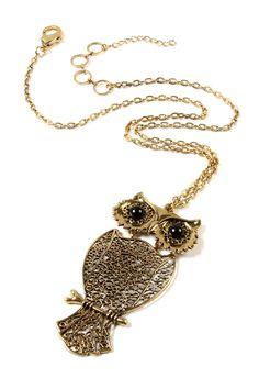 Gold-Tone Owl Pendant Necklace