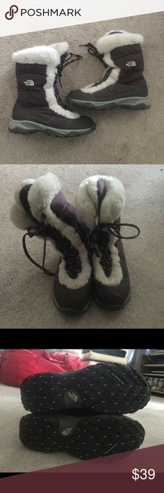 Nuptse Shearling winter boots 8 The North Face Nuptse shearling snow boots size 8. Like new! No defects or signs of wear. Re posh since they were too big on me. The North Face Shoes Winter & Rain Boots