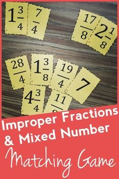 Fraction Matching Game: Improper Fractions and Mixed Numbers, great for review, test prep, math centers, and so many other things!