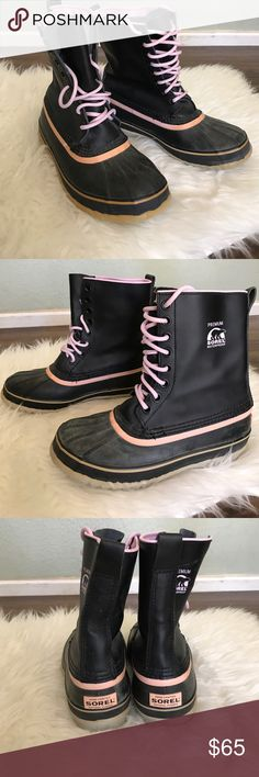 Sorel waterproof boots Fantastic Sorel boots. Waterproof bottoms with leather uppers. Black and pink. Lace up. Perfect for snow. Insert not included. Shows fading on bottom but structurally great! Sorel Shoes Winter & Rain Boots