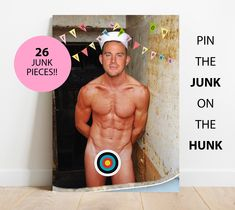 PIN THE WILLY ON THE MAN HUNK GAME /& 15 BALLOONS GIRLS NIGHT OUT HEN PARTY
