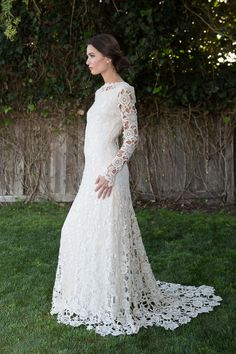 long-sleeve-crochet-lace-boho-wedding-dress-plunge-open-back