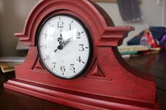 The Red Mantel Clock Vintage Mantel Clocks, Red Clock, Using Chalk Paint, Time Painting, Painting Workshop, Dark Wax, Beginner Painting, Annie Sloan Chalk Paint, Painted Furniture