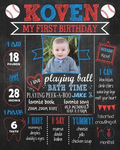 Baseball first birthday chalkboard poster birthday poster