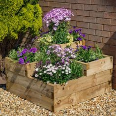 Transform any unused corner with the gorgeous Forest Garden Caledonian Tiered Planter. Try growing root vegetables and herbs to liven up homemade meals or opt for a more colo Raised Planter Beds, Raised Flower Beds, Raised Garden Beds, Raised Beds, Tiered Planter, Tiered Garden, Wooden Garden Planters, Vegetable Planters, Garden Pallet