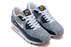 new style 86c67 71ec9 Nike Air Max 90 Liberty QS Blue Recall White Atomic Mango Linen Mens  Running Shoes Nike