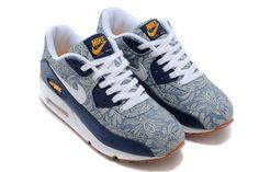 Nike Air Max 90 Liberty QS Blue Recall White Atomic Mango Linen Mens Running Shoes