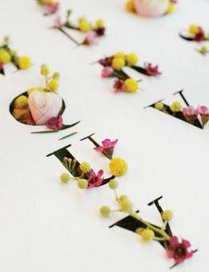 Floral typography by Emma Luk, Shillington Graduate. More student work –> www.s… - HANDMADE Creative Typography, Typography Letters, Graphic Design Typography, Handwritten Typography, Flower Typography, Herb Lubalin, Graphisches Design, Logo Design, Design Room