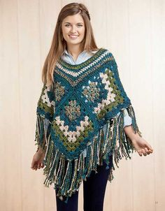 Join the fashion world's trendsetters in an updated poncho featuring today's wonderful yarns and lavish fringe or pom-poms. You'll be chic and super comfy in any of the seven styles this versatile design collection. http://www.maggiescrochet.com/collections/new/products/boho-chic-crochet-ponchos