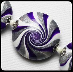 RazzMaTazz... Handmade Polymer Clay Beads Set Purple by Fanceethat, $20.00