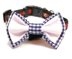 Large Blue Checkered Gingham and White Cotton Bow by FidoandFifi, $11.99