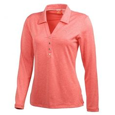 #Puma Women's Golf Long Sleeve Tech Polo in Hot Coral Heather | #Golf4Her #Spring2014 #Golf