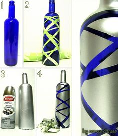 pretty sweet cute diy crafts.. vase or you could do this with blue wine glasses