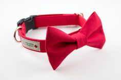 Classic Solid Bright Red Bow Tie Dog Collar by SillyBuddy!   This would be perfect for Christmas Pictures!!
