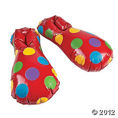 Inflatable Clown Shoes - $5.25 / set. Would be fun to get 2 sets & do some sort of relay w/ them