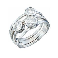 Wide Triple Diamond Band Engagement Ring - Christopher Duquet - https://christopherduquet.com