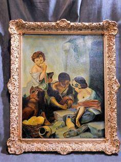 TABLEAU ANCIEN HUILE SUR TOILE SIGNE HAUTECOEUR R. 1852 ENFANTS JOUANT AUX DES
