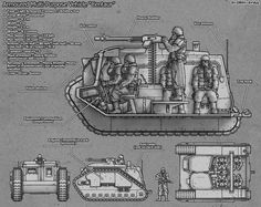 """Warhammer Weapon, Armor, Vehicles and Aircraft PART 4 Armoured Multi-Purpose Vehicle """"Centaur"""" The """"Centaur"""" is a lightly-armored utility vehicle used by forces of the Imperium of Man including Imperial Guard formations such as the Death Korps of. Warhammer 40k Memes, Warhammer Art, Warhammer 40k Miniatures, Warhammer 40000, Warhammer Imperial Guard, 40k Imperial Guard, Death Korps Of Krieg, 40k Armies, Military Drawings"""