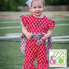 Gameday Prep Ellie Romper (Red/Grey) Alabama Arkansas Boutique Childrens Clothing & Accessories $48 Monogram Ready