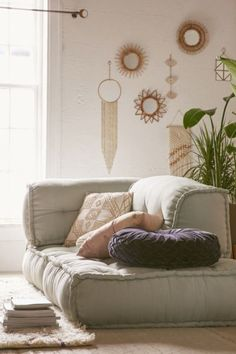 low to the floor seating like bean bags - i like this. The New Beachy: Modern Tropical Decor on the Rise Reema Floor Cushion, Home Interior, Interior Design, Interior Livingroom, Interior Plants, Interior Modern, Scandinavian Interior, Living Room Decor, Bedroom Decor