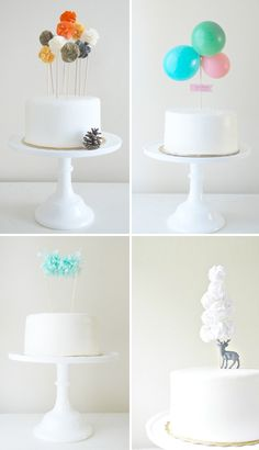 Love the reversal of scale. Poms are usually really large but looks so adorable mini and as a cake topper, or how about a cupcake topper!