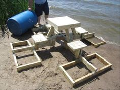How To Make A Floating Picnic Table – 24 Pics  (This is awesome!)