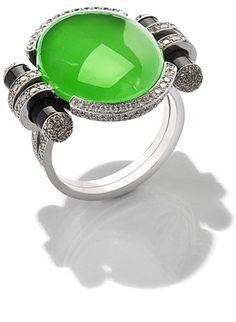 Jade, Diamond & Onyx Ring, By Fochtmann