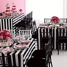 My Fair Lady-inspired black and white wedding.fun for Bachelorette party or pre-wedding luncheon. Pink Black Weddings, Black Wedding Themes, Wedding Color Schemes, Wedding Colors, Wedding Ideas, Wedding Reception, Wedding Black, Gothic Wedding, Reception Table