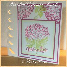 Braided Flower Card. Gefeliciteerd! Stempels zijn van Different Colors: Gefeliciteeerd, Hedera, Hortensia. Inkten: Color Box Citrine en Razzberry. 't HobbyHoees 12 april 2015